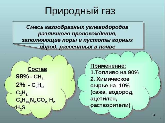 * Природный газ Смесь газообразных углеводородов различного происхождения, за...