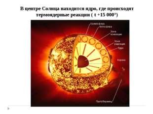 В центре Солнца находится ядро, где происходят термоядерные реакции ( t +15 0