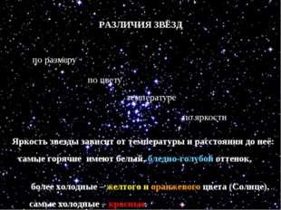 РАЗЛИЧИЯ ЗВЁЗД по размеру по цвету по температуре по яркости Яркость звезды з
