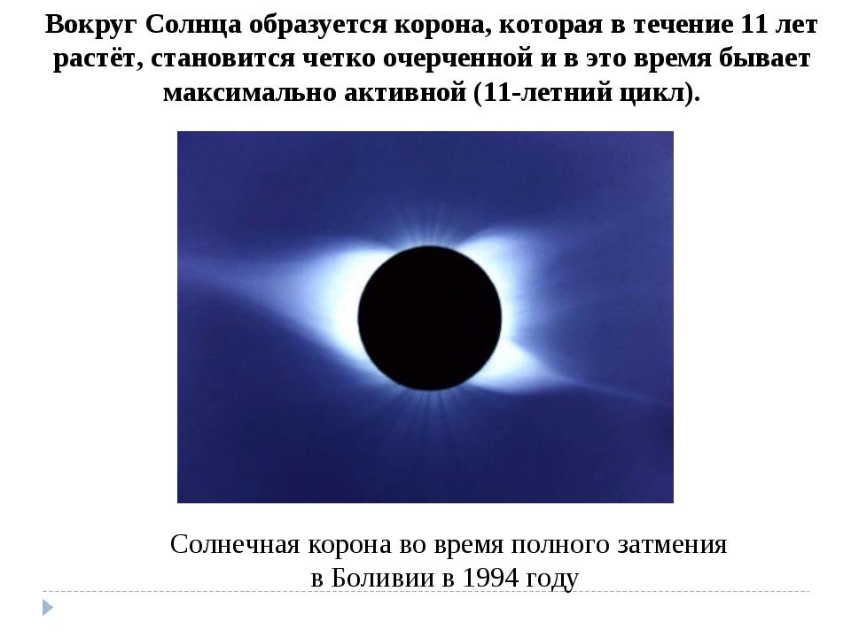 Солнечная корона во время полного затмения в Боливии в 1994 году Вокруг Солнц...