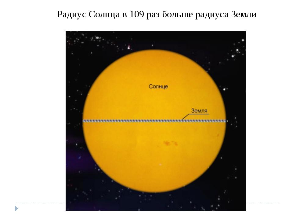 Радиус Солнца в 109раз больше радиуса Земли
