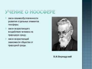 закон взаимообусловленности развития отдельных элементов геосферы; закон возр