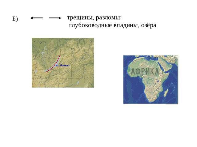 Б) трещины, разломы: глубоководные впадины, озёра