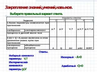 Ответы. Изобарный- изменяются параметры V,T Изотермический-изменяются параме