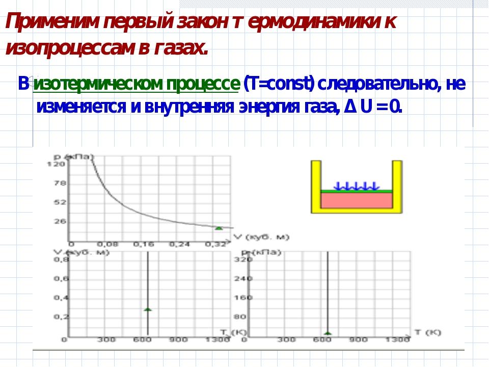 Применим первый закон термодинамики к изопроцессам в газах. В изотермическом...