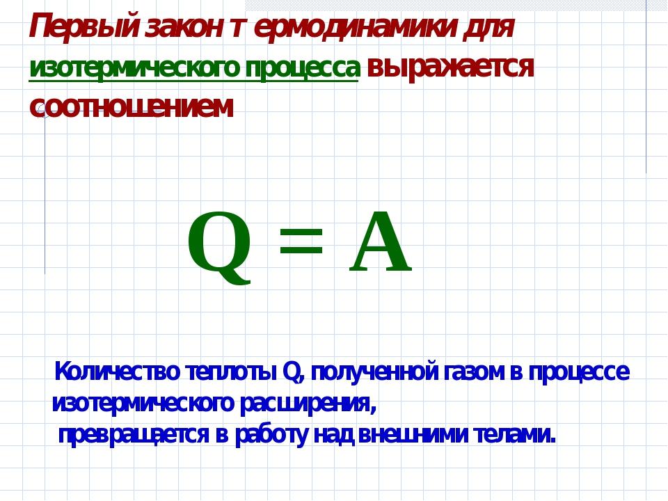 Первый закон термодинамики для изотермического процесса выражается соотношени...