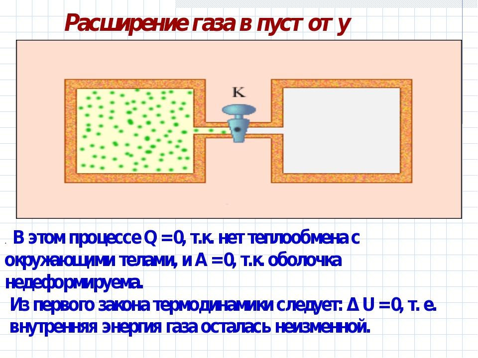 Расширение газа в пустоту . В этом процессе Q=0, т.к. нет теплообмена с окр...