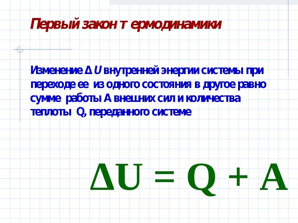 Изменение Δ U внутренней энергии системы при переходе ее из одного состояния...