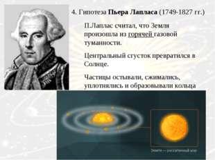 4. Гипотеза Пьера Лапласа (1749-1827 гг.) П.Лаплас считал, что Земля произошл
