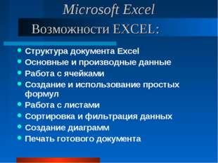 Возможности EXCEL: Структура документа Excel Основные и производные данные Ра