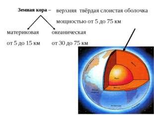 верхняя твёрдая слоистая оболочка мощностью от 5 до 75 км материковая от 5 д