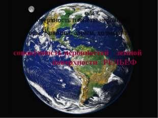 Поверхность планеты неровная: горы, равнины, овраги, холмы и т.п. совокупност