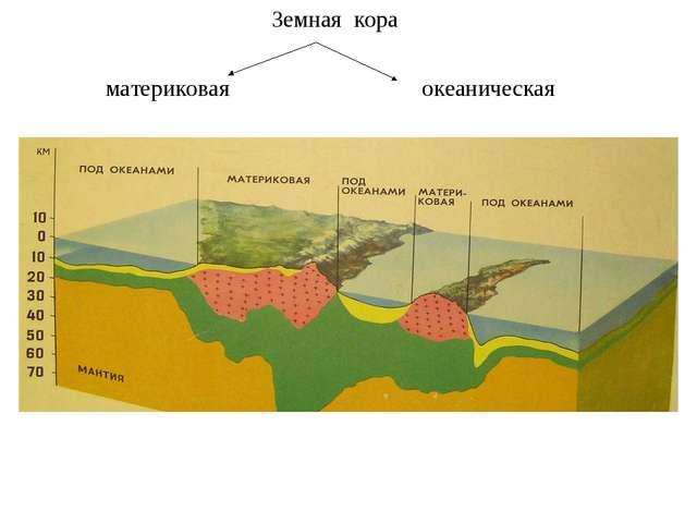 Земная кора материковая океаническая