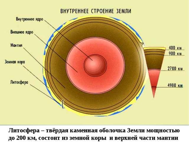 Литосфера – твёрдая каменная оболочка Земли мощностью до 200 км, состоит из з...
