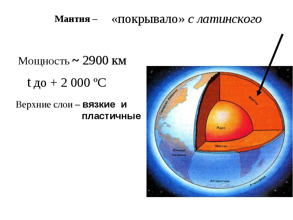 «покрывало» с латинского Мощность ~ 2900 км Верхние слои – вязкие и пластичн...