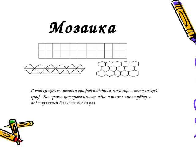 Мозаика С точки зрения теории графов подобная мозаика – это плоский граф. Вс...