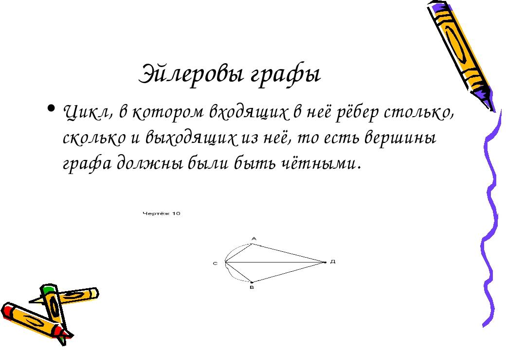 Эйлеровы графы Цикл, в котором входящих в неё рёбер столько, сколько и выходя...