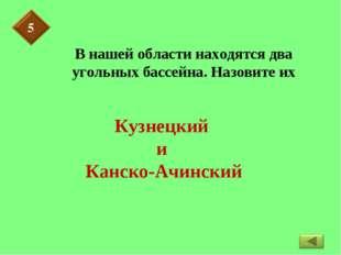 В нашей области находятся два угольных бассейна. Назовите их Кузнецкий и Канс