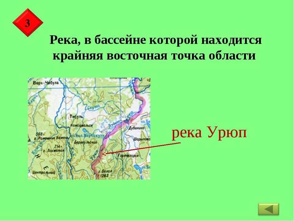 Река, в бассейне которой находится крайняя восточная точка области