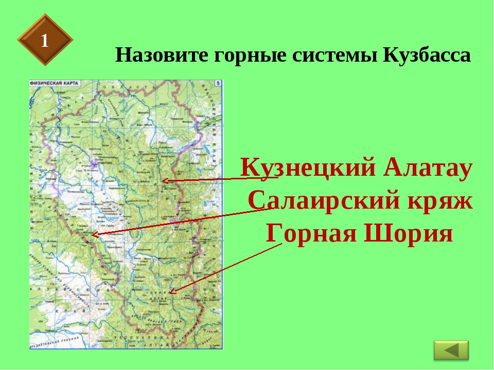 Назовите горные системы Кузбасса
