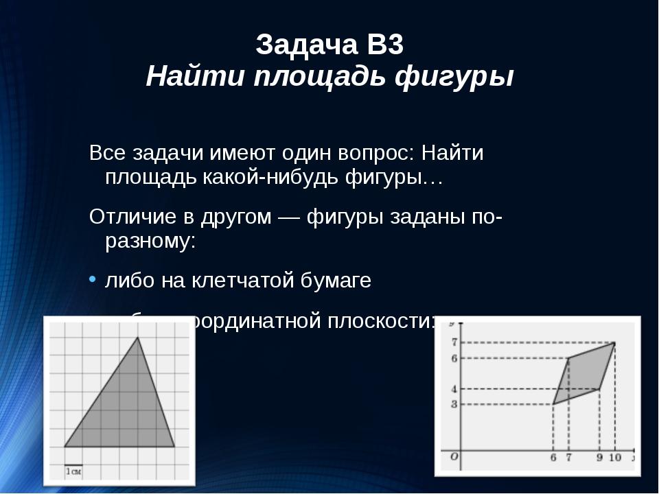 Задача В3 Найти площадь фигуры Все задачи имеют один вопрос: Найти площадь ка...