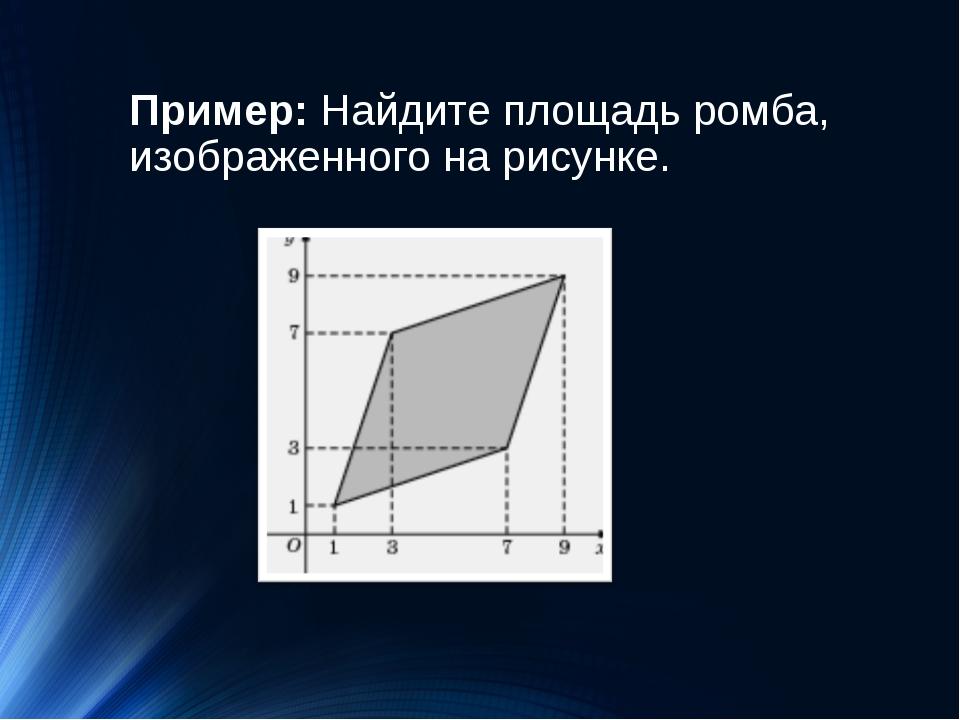 Пример:Найдите площадь ромба, изображенного на рисунке.