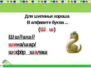 Для шипенья хороша В алфавите буква ... (Ш ш) Шш//шш// шина/шар/ шофёр шалаш