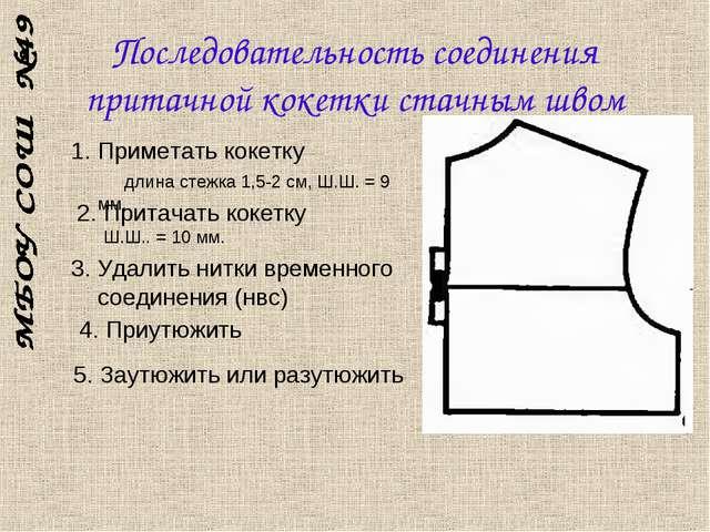 Последовательность соединения притачной кокетки стачным швом 1. Приметать кок...