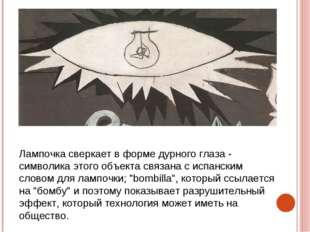 Лампочка сверкает в форме дурного глаза - символика этого объекта связана с и