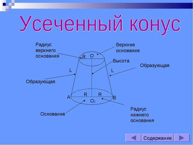 Содержание Высота L О1 А В R Радиус нижнего основания Основание Радиус верхне...