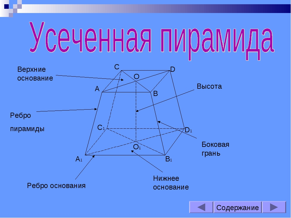 Содержание С1 В1 А1 D1 А В D С О О1 Нижнее основание Высота Ребро пирамиды Ре...