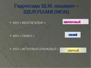 Гидроксиды Щ.М. называют – ЩЕЛОЧАМИ (МОН) МОН + ФЕНОЛФТАЛЕИН = МОН + ЛАКМУС =