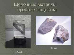 Щелочные металлы – простые вещества Литий Натрий
