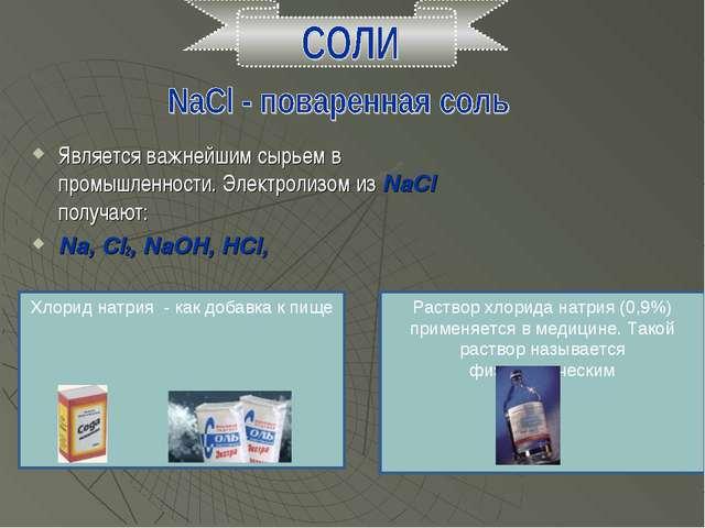 Является важнейшим сырьем в промышленности. Электролизом из NaCl получают: Na...