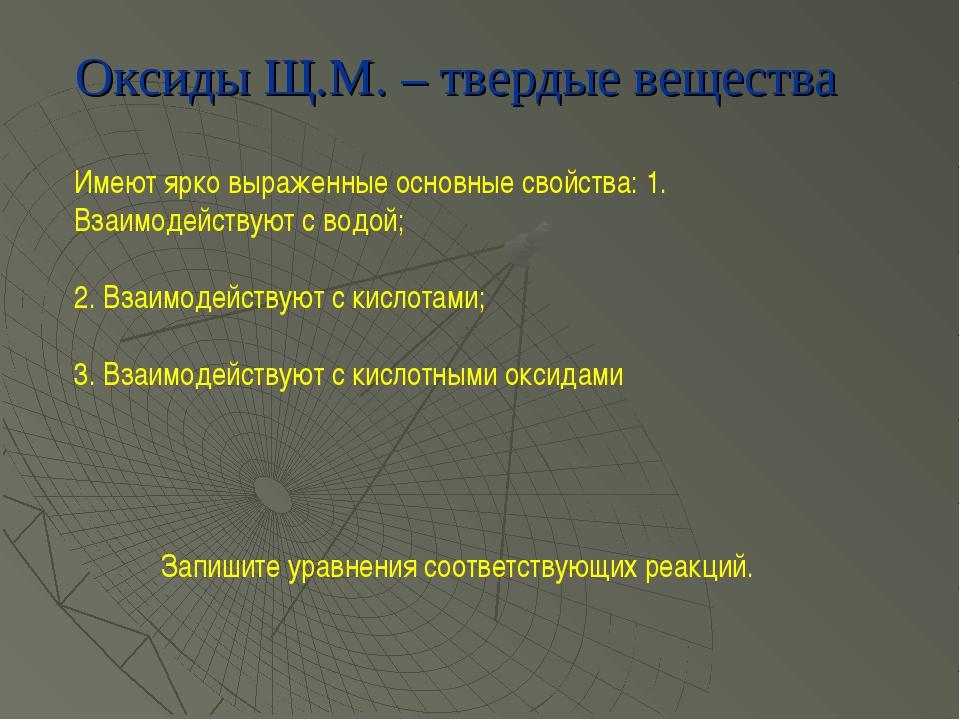 Оксиды Щ.М. – твердые вещества Имеют ярко выраженные основные свойства: 1. Вз...