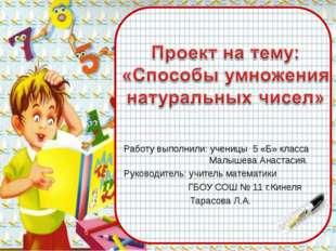 Работу выполнили: ученицы 5 «Б» класса  Малышева Анастасия. Руководитель: