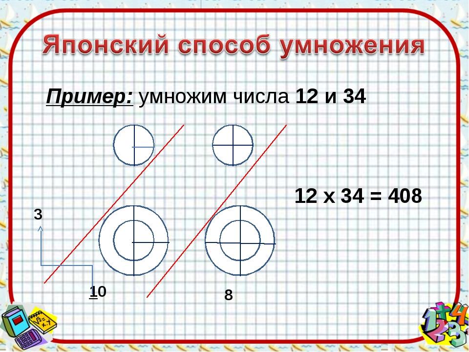 Пример: умножим числа 12 и 34 3 10 8 12 х 34 = 408