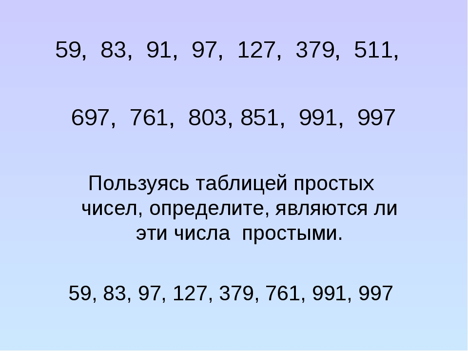 59, 83, 91, 97, 127, 379, 511, 697, 761, 803, 851, 991, 997 Пользуясь таблице...