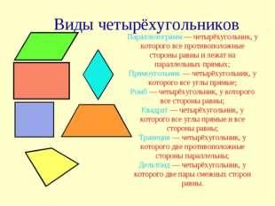 Виды четырёхугольников Параллелограмм— четырёхугольник, у которого все проти