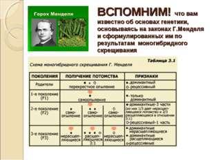 ВСПОМНИМ! что вам известно об основах генетики, основываясь на законах Г.Менд