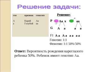 Ответ: Вероятность рождения кареглазого ребенка 50%. Ребенок имеет генотип Аа