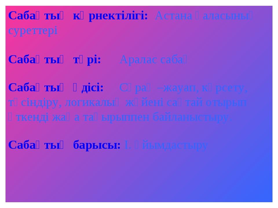 Сабақтың көрнектілігі: Астана қаласының суреттері Сабақтың түрі:Аралас сабақ...