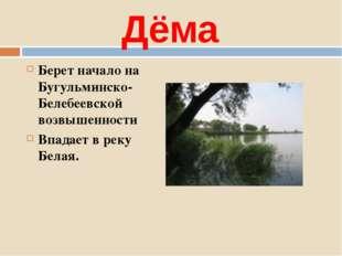 Дёма Берет начало на Бугульминско-Белебеевской возвышенности Впадает в реку Б