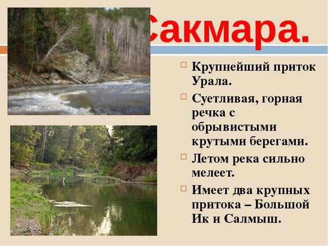 Сакмара. Крупнейший приток Урала. Суетливая, горная речка с обрывистыми круты...