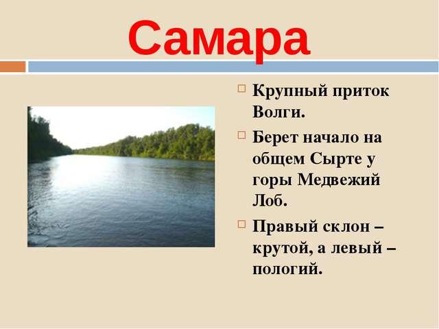 Самара Крупный приток Волги. Берет начало на общем Сырте у горы Медвежий Лоб....