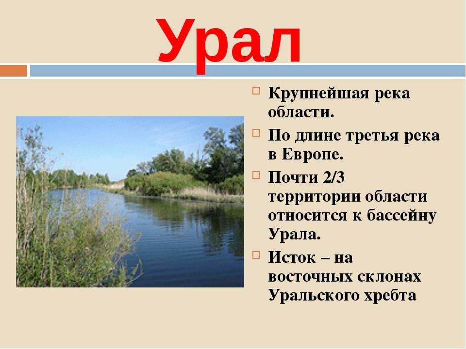 Урал Крупнейшая река области. По длине третья река в Европе. Почти 2/3 террит...