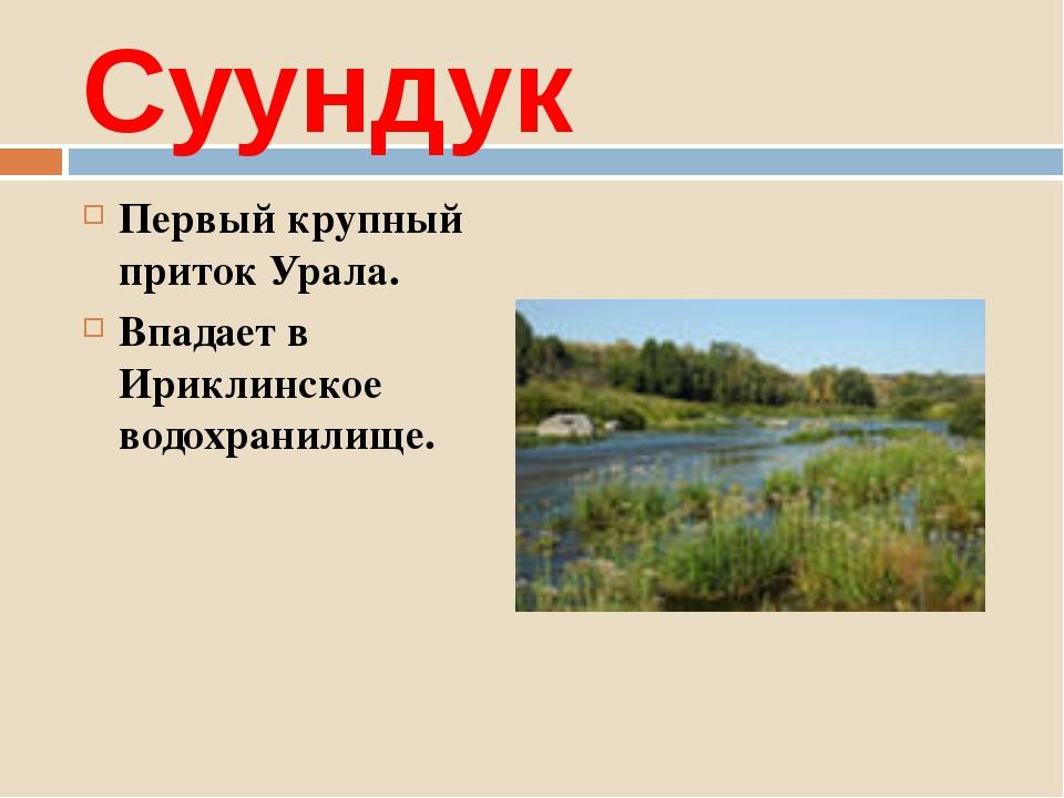 Суундук Первый крупный приток Урала. Впадает в Ириклинское водохранилище.