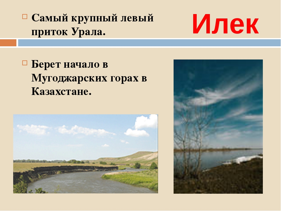 Илек Самый крупный левый приток Урала. Берет начало в Мугоджарских горах в Ка...