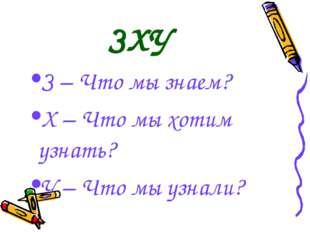 ЗХУ З – Что мы знаем? Х – Что мы хотим узнать? У – Что мы узнали?