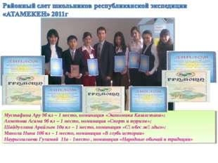 Мустафина Ару 9б кл – 1 место, номинация «Экономика Казахстана»; Ахметова Аси